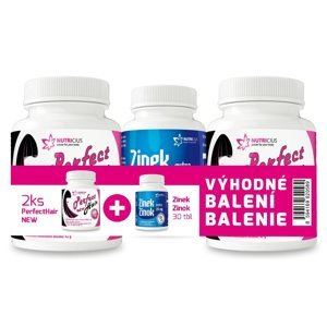 Nutricius Perfect HAIR new-methionin 2x100 tablet + Zinek Extra 25 mg 30 tablet dárkové balení