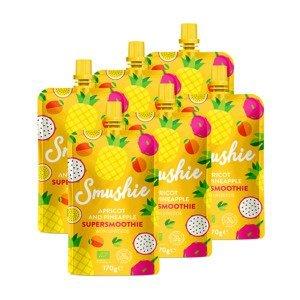 SALVEST Smushie BIO Ovocné smoothie s meruňkou, ananasem a lněnými semínky 6x170 g