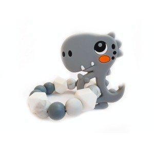 KidPro Silikonové kousátko Dino šedý 1 ks