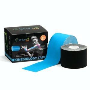 BronVit Sport Kinesio Tape set 5 cm x 6 m tejpovací páska 2 ks černá + modrá