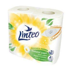 Toaletní papír LINTEO heřmánek 3vrstvý žlutý 4role