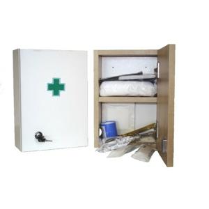 Lékárnička - bílá dřevěná s náplní do 5 osob-ZM 05 - II. jakost