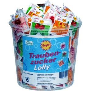 Traubenzucker Lolly lízátka z hrozn.cukru 100ks - II. jakost