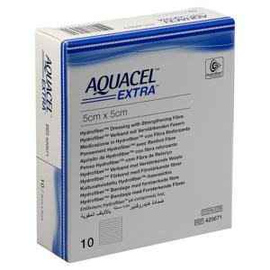 AQUACEL EXTRA 5X5 CM, KRYTÍ S TECHNOLOGIÍ HYDROFIBER, 10 KS - II. jakost