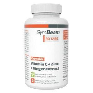 GymBeam Vitamín C + Zinek + extrakt ze zázvoru 90 tablet na cucání