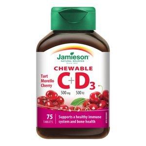 Jamieson Vitamíny C a D3 500 mg/500 IU tablety na cucání s příchutí třešně 75 tablet
