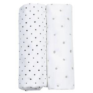 Motherhood  Plenka mušelínová BIO 2ks Grey and Black Dots 85x85cm