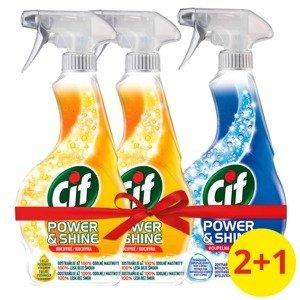 Cif Power&Shine Kuchyň čistící sprej 2x500ml + Cif Power&Shine Koupelna čistící sprej 500ml