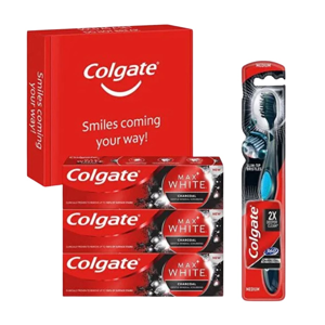 Colgate box Max White Charcoal 3x 75ml + Colgate 360 Deep Clean Charcoal zubní kartáček