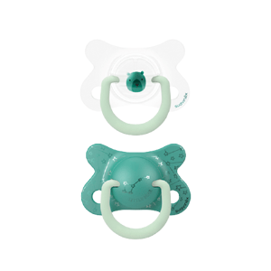 Suavinex Fyziologické šidítko den/noc silikon 2-4m zelený medvěd 2ks