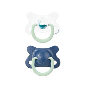Suavinex Fyziologické šidítko den/noc silikon 2-4m modrá velryba 2ks