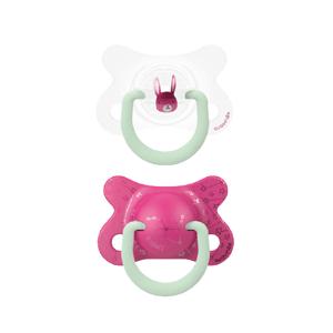 Suavinex Fyziologické šidítko den/noc silikon 2-4 m růžový králík 2ks