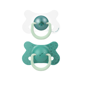 Suavinex Fyziologické šidítko den/noc silikon +18m zelený medvěd 2ks