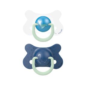 Suavinex Fyziologické šidítko den/noc silikon +18m modrá velryba 2ks