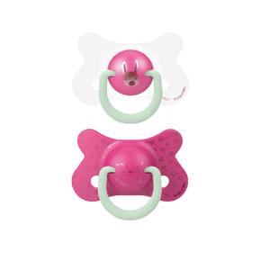 Suavinex Fyziologické šidítko den/noc silikon +18m růžový králík 2ks