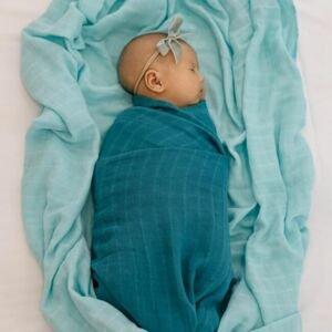 Tommy Lise Bavlněná mušelínová plena Foggy Blue 120x120cm