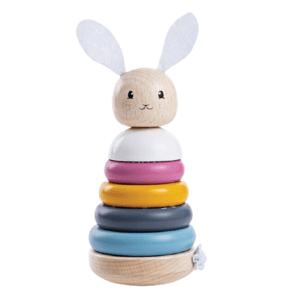 Bigjigs toys  Bigjigs Baby Dřevěná motorická nasazovací věž králíček