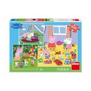 Dino Puzzle Peppa pig na prázdninách 3 x 55 dílků