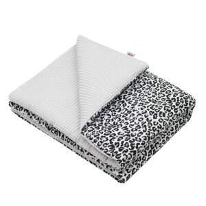 New Baby Dětská deka s výplní Vafle šedá leopard 80x102cm