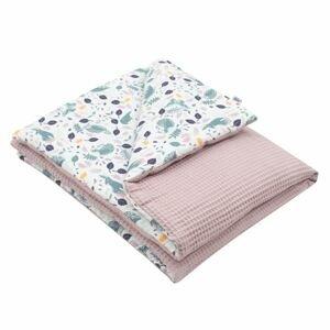 New Baby Dětská deka s výplní Vafle fialová králíčci 80x102cm
