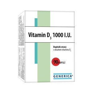 Generica Vitamin D3 1000 I.U.90 kapslí