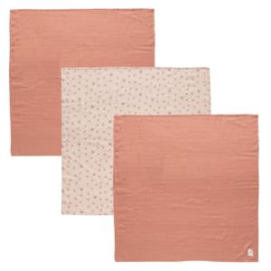 Bébe-Jou Mušelínová plenka 70x70 cm set 3ks Fabulous Wish Pink