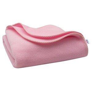 New Baby Dětská fleecová deka růžová proužky 100x75cm
