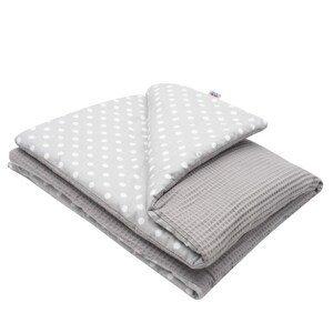 New Baby Dětská deka s výplní Vafle šedá s bílými puntíky 80x102cm