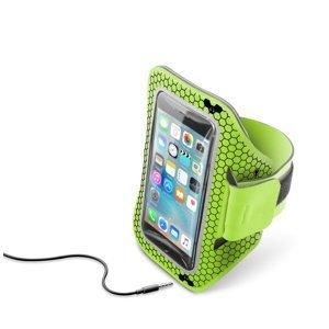 """CellularLine Sportovní neoprénové pouzdro Armband Running pro smartphony do velikosti 5,2"""" limetková"""
