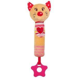 Baby Mix Dětská pískací plyšová hračka s kousátkem kočka