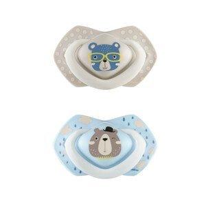 Canpol babies Set symetrických silikonových dudlíků 0-6m Bonjour Paris modrý