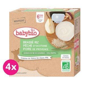 Babybio Rýžová kaše s broskví a hruškou 4x85g