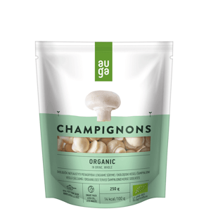 Auga Organic Champignons in brine whole, bio celé žampiony ve slaném nálevu, 250g