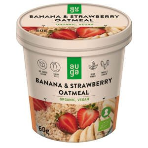 Auga Organic Oatmeal, bio ovesná kaše s banánem a jahodami, 60g