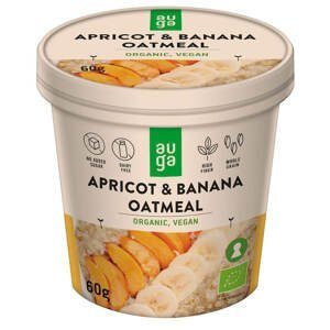 Auga Organic Oatmeal, bio ovesná kaše s meruňkou a banánem, 60g
