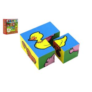 Teddies Kostky kubus čtyřkostka Moje první zvířátka dřevo 4ks