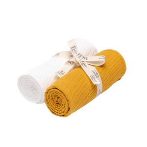 Eseco Mušelínové pleny white - mustard 2ks