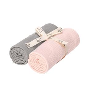 Eseco Mušelínové pleny grey - pink 2ks