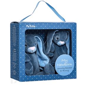 My Teddy Dárkový set Můj malý zajíček a muchláček - modrý