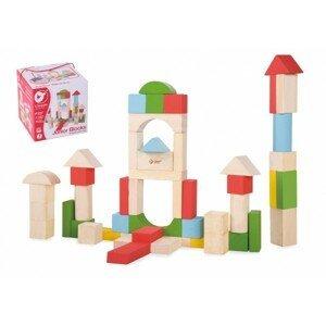 Teddies Kostky stavebnice dřevo v krabici, 12m+ 50ks