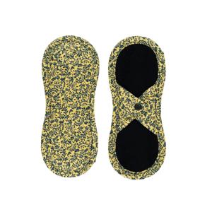 Bamboolik Látkové slipové vložky biobavlna, satén s patentkem tmavě modré ornamenty na zlatavě žluté
