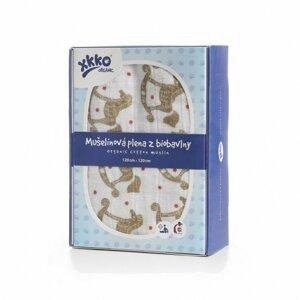 XKKO Organic biobavlněného plenka 120x120, Rocking Horses Gold