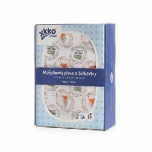 XKKO Organic biobavlněného plenka 120x120, Fox & Raccoon