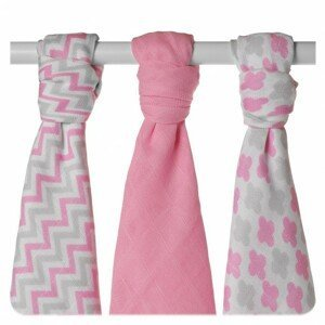 XKKO Bambusové pleny BMB Scandinavian Baby Pink MIX 70x70, 3ks