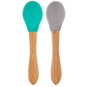 Minikoioi Lžička s bambusovou rukojetí 2ks - Green / Grey
