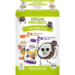 Freche Freunde BIO MIX 2 druhy - Jablko, mango s kokosem a Ostružina s banánem 4x100g