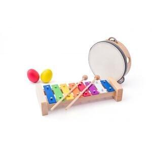 Woody Muzikální set xylofon, tamburína/bubínek, triangl, 2 maracas vajíčka