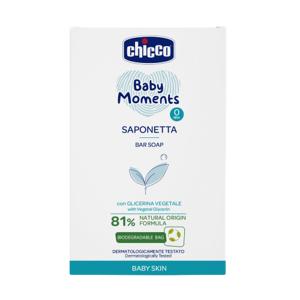 CHICCO Mýdlo na ruce tuhé s rostlinným glycerínem Baby Moments 81 % přírodních složek 100g