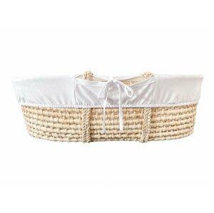 Ahojbaby Potah do Mojžíšova košíku pro miminko White, organická bavlna