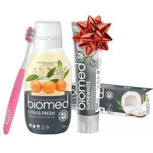 SPLAT  Vánoční Biomed Superwhite & Citrus Fresh zubní pasta a voda s kartáčkem navíc 3ks